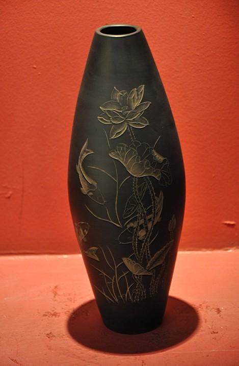梭子瓶(黑陶)