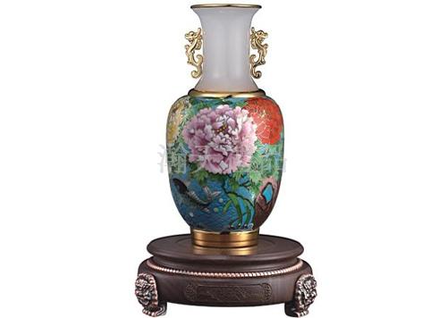 景泰蓝平安是福花瓶