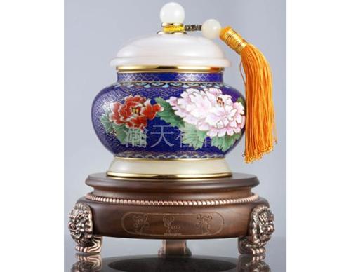 景泰蓝镶玉福如东海茶叶罐
