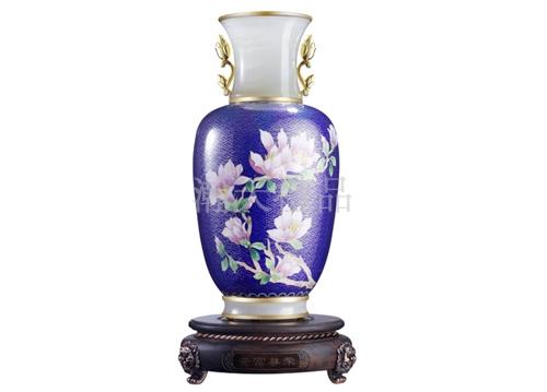 景泰蓝镶玉安富尊荣白玉兰花瓶