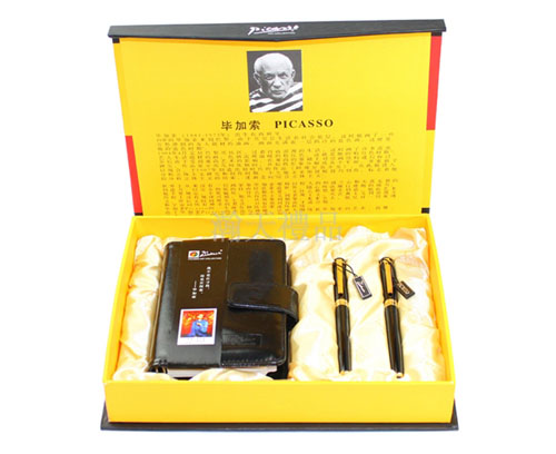 毕加索铱金笔+宝珠笔+黑色记事本套装