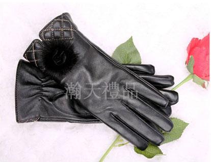女触屏羊皮手套
